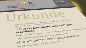 Urkunde Ilzhöfers Event Kochschule Esslingen