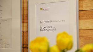 Urkunde Top 10 Unternehmen 2014